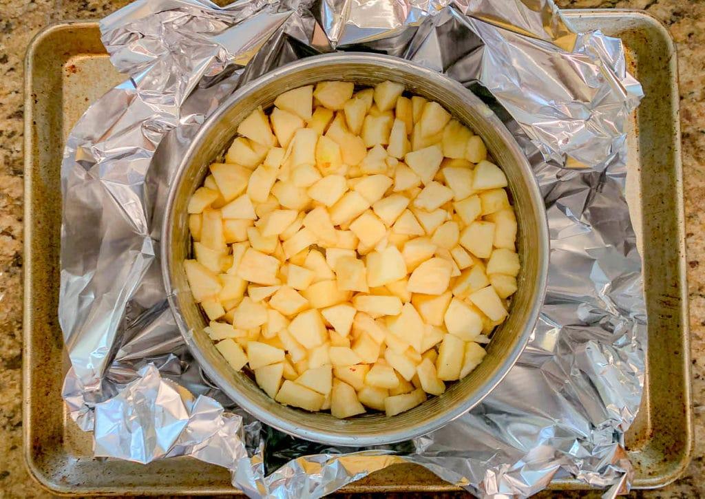 pieces of apple in a springform pan