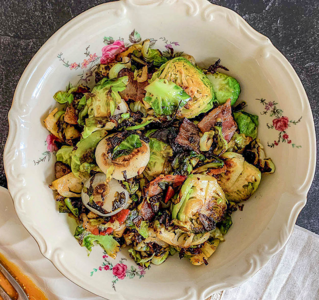 Brussels sprouts, with bacon and onions