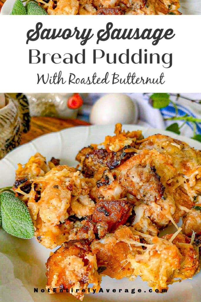 Pinterest pin image for savory breakfast bread pudding recipe